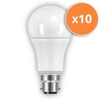 LED B22 10.5W Globe Opal Pack Of 10