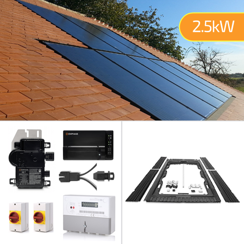 Plug-In Solar 2.5kW (2500W) New Build In-Roof (BIPV) Solar Power Kit for Part L Building Regulations