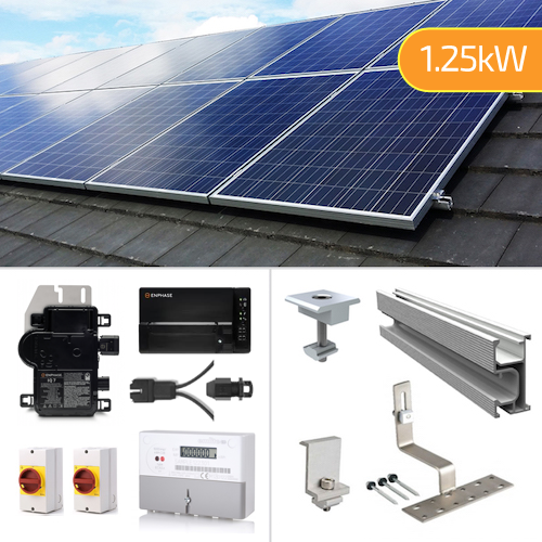 Plug In Solar 1.25kW New Build Developer Solar Power Kit for Part L Building Regulations