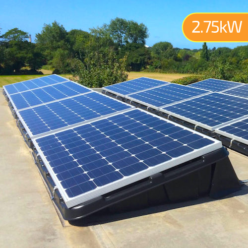 2.75kW (2750W) Flat Roof Mount DIY Solar Kit