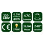 6.5W E27 LED Clear Candle Bulb 470Lm 2700K