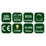 10.5W GLS E27 LED Opal Globe Bulb 806Lm 2700K