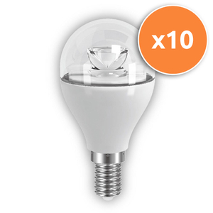 Pack of 10 - 6W E14 LED Clear Mini Globe 470Lm 2700K