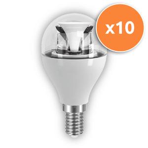 Pack of 10 - 6.5W E14 LED Clear Mini Globe 470Lm 2700K