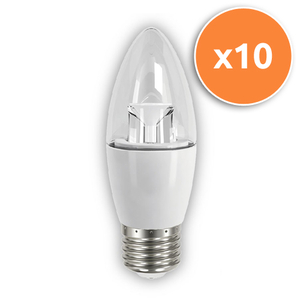 Pack of 10 - 6.5W E27 LED Clear Candle 470Lm 2700K