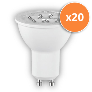 Pack of 20 - 6.8W PAR16 GU10 LED Lamps 450Lm 3000K