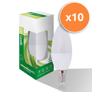 Pack of 10 - 6W E14 LED Opal Candle 470Lm 4000K