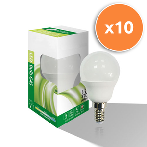 Pack of 10 - 6W E14 LED Opal Mini Globe 470Lm 3000K
