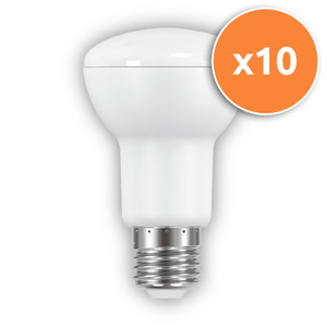 Pack of 10 - 9.5W R63 E27 LED Opal Spotlights 600Lm 2700K