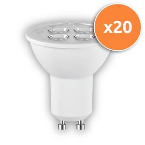 Pack of 20 - 5.5W PAR16 GU10 LED Lamps 345Lm 3000K