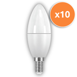 Pack of 10 - 6W E14 LED Opal Candle 470Lm 2700K