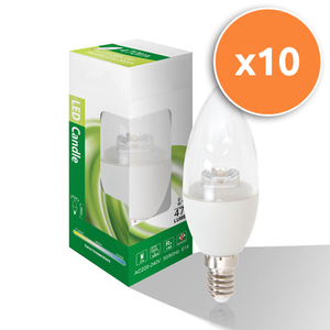 Pack of 10 - 6W E14 LED Clear Candle 470Lm 4000K