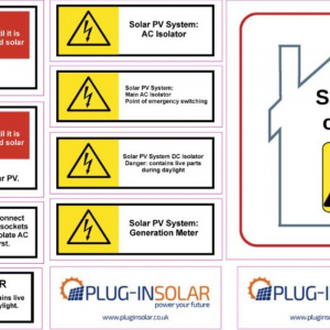 Set of MCS-compliant Solar Warning Labels (Stickers)
