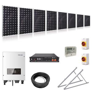 3.25kW (3250W) Hybrid Solar Power Kit with 2.4kWh Battery Storage with Adjustable Ground Mounts